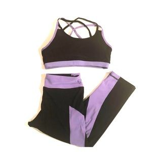 CENTRAL PARK Black Lavender BRA/LEGGINGS Bundle S